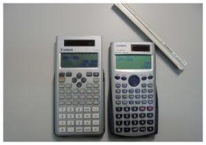 キャノン・カシオ関数電卓とステッドラー三角スケール